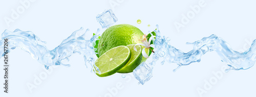 Foto auf Gartenposter Abstrakte Welle Fresh cold pure flavored water with lime wave splash. Lime fruit infused water or lemonade wave swirl. Healthy flavored detox drink splash concept with lime fruit and ice cubes. 3D