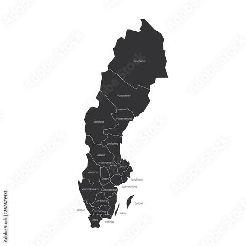 Counties of Sweden Wallpaper Mural