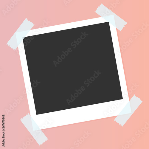 Obraz Black and white photo frames isolated on pink. Vintage style. Vector illustration. Color live coral. Trend 2019 - fototapety do salonu