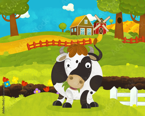Foto op Canvas Honden cartoon happy and funny farm scene with happy cow - illustration for children