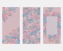Cards Set With Pale Pink And Blue Vintage Floral Ornament