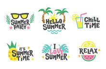 Summer Labels, Stickers, Icons, Logo Set. Tropical Party Elements In Flat Style. Chill, Relax, Love.
