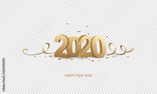Happy New year 2020 3D text with glitter golden yellow color ...
