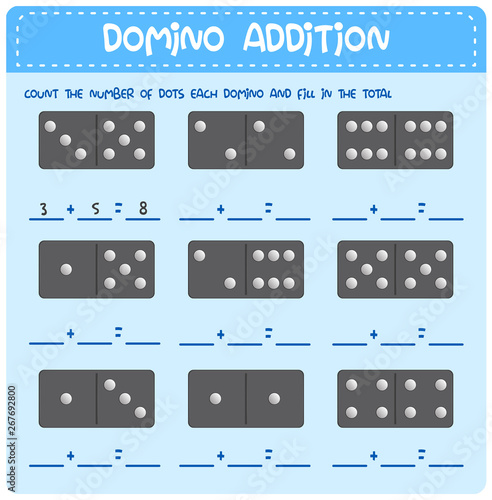 Domino math addition worksheet Canvas Print