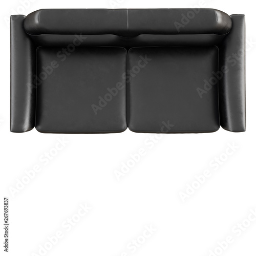 Wondrous Black Leather Sofa On White Background 3D Rendering Top View Squirreltailoven Fun Painted Chair Ideas Images Squirreltailovenorg