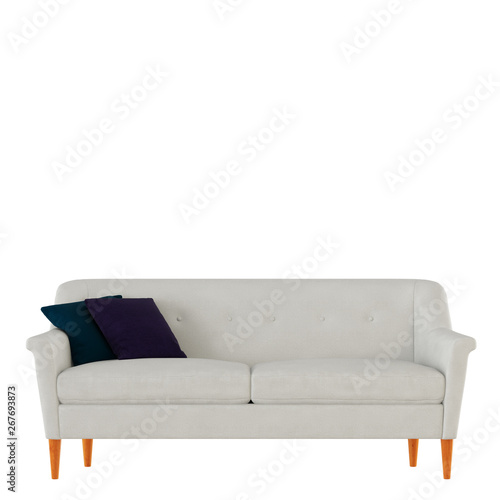 Terrific White Fabric Sofa With Pillows On A White Background 3D Machost Co Dining Chair Design Ideas Machostcouk