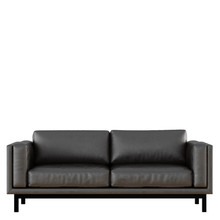 Black Leather Sofa On White Background 3d Rendering Front View