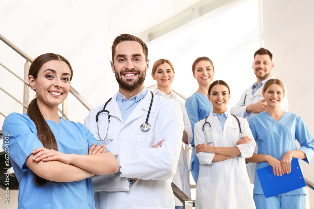 Fototapety, obrazy: Group of medical doctors at clinic. Unity concept