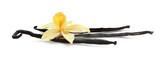 Fototapeta Kwiaty - Aromatic vanilla sticks and flower on white background