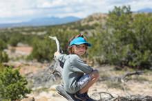 Portrait Of 5 Year Old Boy Hiking In The Galisteo Basin, NM