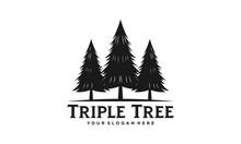 Triple Tree Logo. Pine Forest Vector Illustration