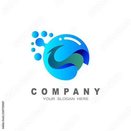 Fotografering  bird logo , bird and babble, water drop icon