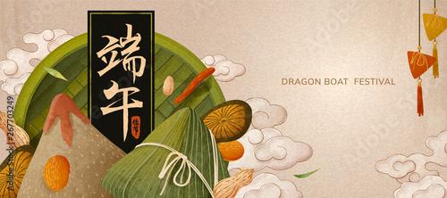 Fototapeta Delicious rice dumplings banner obraz