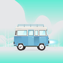Van With On Top Of The Roof On Blue Background. Vector. Illustrator