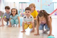 Crouching Children Prepared To Jump. Sport Activities