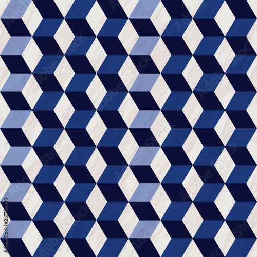 seamless-geometric-3d-pattern-with-marble-texture-hexagon-pattern-blue-and-white-pattern-with-cubes-vector-illustration