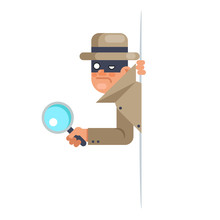 Look Our Corner Spy Magnifying Glass Mask Detective Cartoon Character Flat Design Vector Illustration