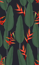 Seamless Pattern Tropical Leaves With Heliconia On Black Background