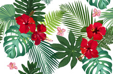 Seamless Vector Pattern Tropical Leaves With Red Hibiscus Flower And Pink Orchid On White Background