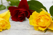 Red And Yellow Roses Lying On Wood