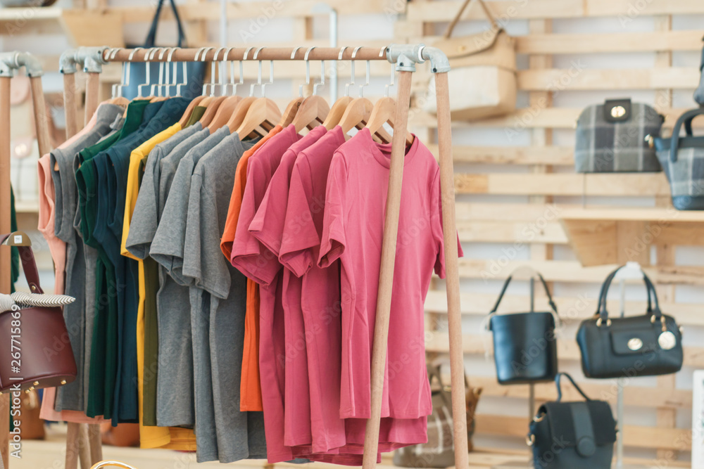 Fototapety, obrazy: Clothes rail,clothing store, colorful clothing on Clothes rail in a clothing store, Image Is Blurred.