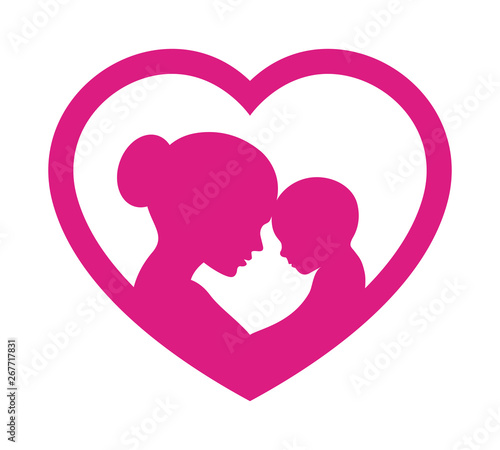 Vector symbol mothers day. Heart with silhouette mom and baby. Isolated on white background