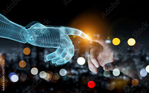 Aluminium Prints Personal Wireframed Robot hand making contact with human hand on dark 3D rendering