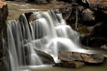 Soft Water Flow Of A Waterfall