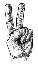 A Hand In A Peace Or V For Victory Sign. Iin A Vintage Antique Engraving Woodblock Or Woodcut Style.