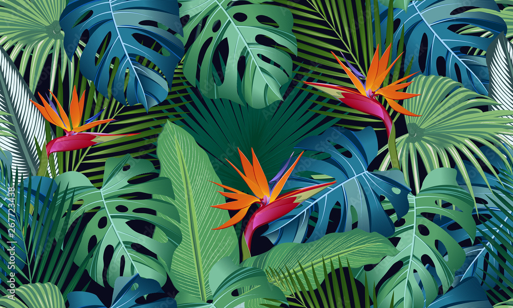 Fototapeta Seamless pattern tropical leaves with bird of paradise on black background