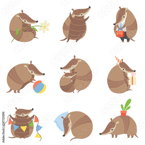 Cute Armadillos Set, Adorable Pleistocene Animals Cartoon Characters in Various Wallpaper Mural