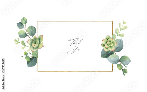 Fototapety, obrazy: Watercolor vector frame with eucalyptus leaves and succulents.