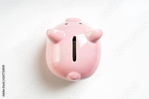 Fotografija overhead view piggy or coin bank or piggybank or money box - finance and savings