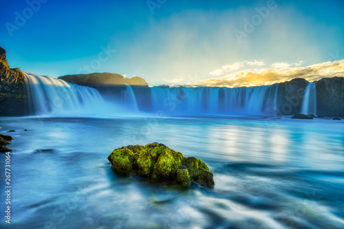 Canvas Print Godafoss Waterfall at Sunset, Iceland