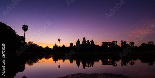 silhouette of Angkor wat  at sunrise in Cambodia Canvas Print