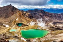 Emerald Lakes On Tongariro Alpine Crossing Track, Tongariro National Park, New Zealand
