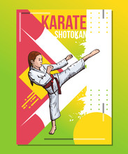 Karate Girl Showing High Leg Kick, Karate Girl Training On Abstract Background. Sport Poster, Print Graphic Design. Bright, Colorful Vector Illustration