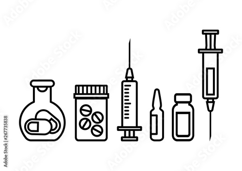Medicine bottles with pills, syringe for injection with vaccine, ampoule and vial of medicine Wallpaper Mural