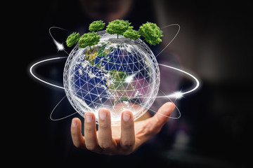 earth in hands - environment concept - elements of this image furnished by NASA - Image