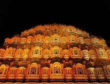 Hawa Mahal At Night Located In Jaipur India