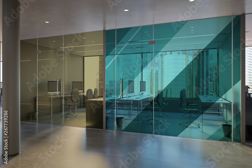 Fototapety, obrazy: Glass Office Room Wall Mockup - 3d rendering