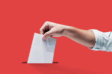 Hand Holding Ballot Paper For Election Vote Concept, Clipping Path Isolated.