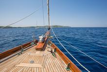 Yacht Bow In Mediterranean Sea...