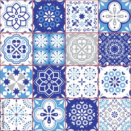 Lisbon Azujelo vector seamless tiles design - Portuguese retro navy blue pattern, tile big collection - 267742051