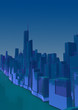 blue abstract low poly city with blue lines