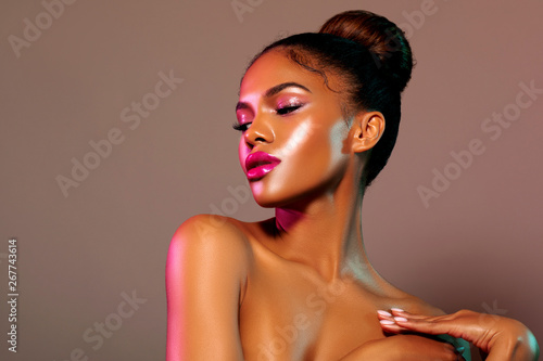 Fotografie, Obraz  Beauty portrait fashion girl with color lighting filters