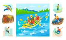 People In Boat Rafting Vector, Set Of Hobbies And Extreme Sports. Highlining And Parkour, Skateboarding And Extreme Mans On Sport, Speleotourism Hang Gliding And Biking