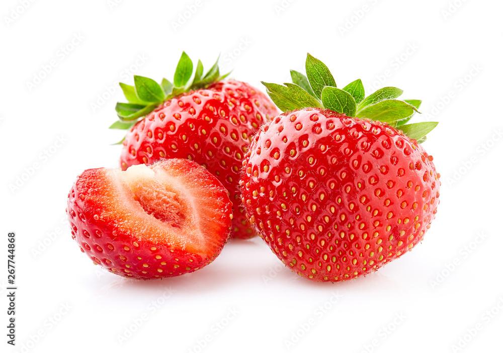 Fototapety, obrazy: Sweet strawberry on white background