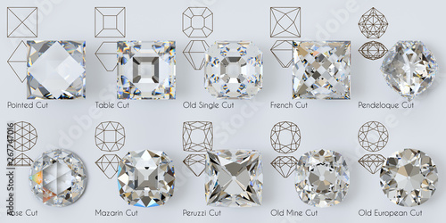 Old diamond cuts, outlines, titles on white background