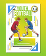 Vector illustration of teenagers, kids playing football. Bright colorful sport themed poster. Summer sports, healthy lifestyle, soccer youth league, championship.
